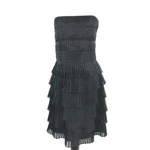 WHBM Black Pleated Ruffle Strapless Dress NEW 14